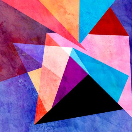 さまざまな幾何学的要素と抽象的なカラフルな水彩背景 写真素材 - 81100895