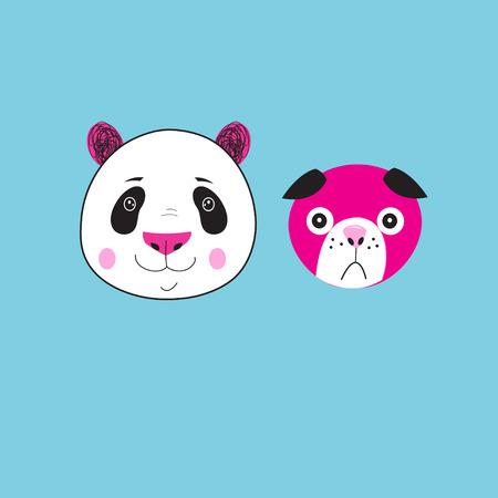 Illustration of icons Panda and dog on a blue background Illustration