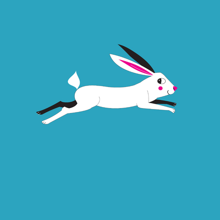 Illustration of a running hare on a blue background Çizim