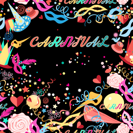 Background with bright multicolored carnival and elements on a dark background