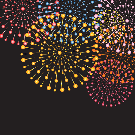 Background with colorful bright fireworks on a dark background