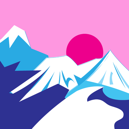 Illustration of a graphically bright mountain landscape and sunset