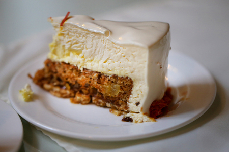 Photo of a delicious cheesecake in a cafe