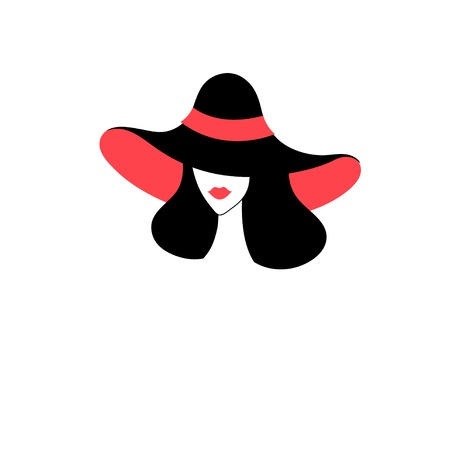 Vector icon portrait of a girl in a hat for design Illustration
