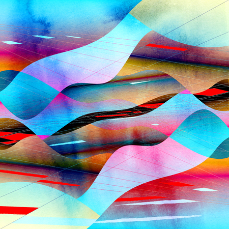 Abstract watercolor bright background with different colorful wave elements and a circuit