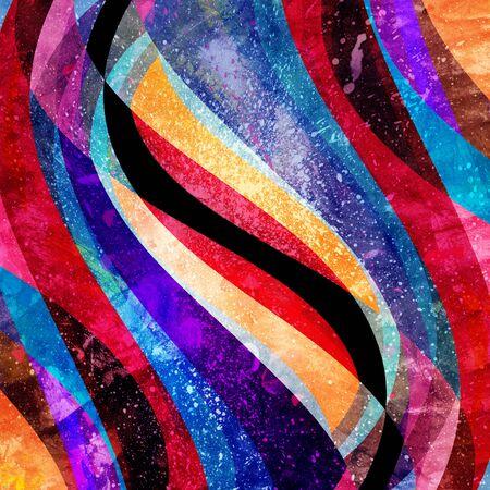 Abstracte aquarel heldere achtergrond met verschillende kleurrijke golfelementen en een circuit Stockfoto