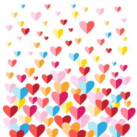 Fondo vivo festivo con corazones multicolores en blanco Foto de archivo - 81365733
