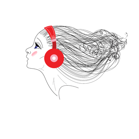 Vector graphics of portrait of a girl with headphones on white background
