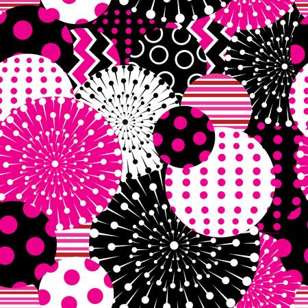 暗い背景に幾何学的図形のシームレスなグラフィック パターン  イラスト・ベクター素材
