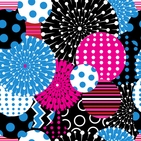 Seamless graphic pattern of geometric shapes on a dark background Ilustrace