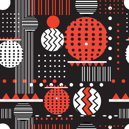 Seamless graphic pattern of geometric shapes on a dark background Illustration