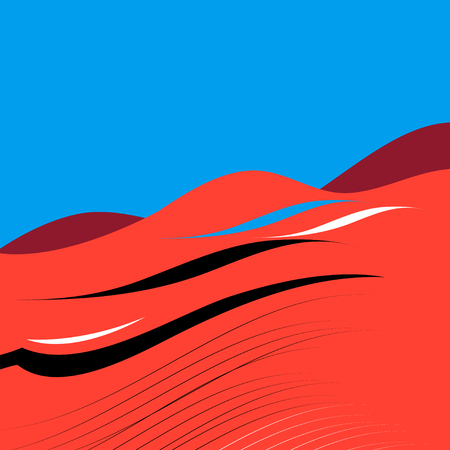 Graphics vector landscape red desert and blue sky