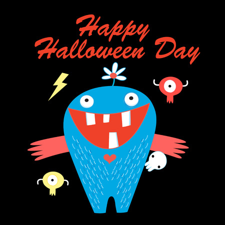 Vector bright cartoon character monsters to Halloween Day Иллюстрация