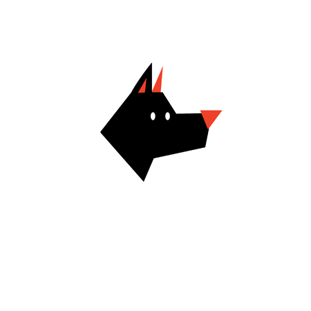 Vector black silhouette icon dog on white background