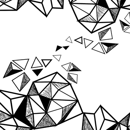 Black and white abstract background with different geometric elements