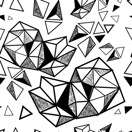 Seamless geometric graphic pattern of triangles volume
