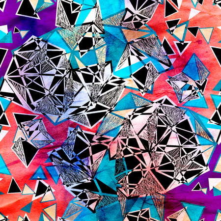 異なる要素を持つモダンな幾何学的な三角バック グラウンド 写真素材