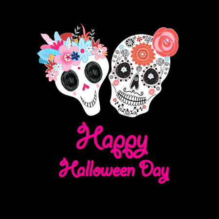 Greeting card with a fun Halloween with ornamental skulls