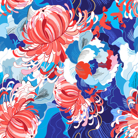 Seamless bright summer pattern with different flowers blue and red Çizim