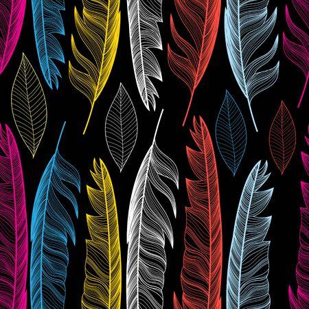 화려한 깃털과 어두운 배경에 잎 그래픽 원활한 패턴. 일러스트