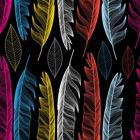 Graphic seamless pattern with colorful feathers and leaves on a dark background.