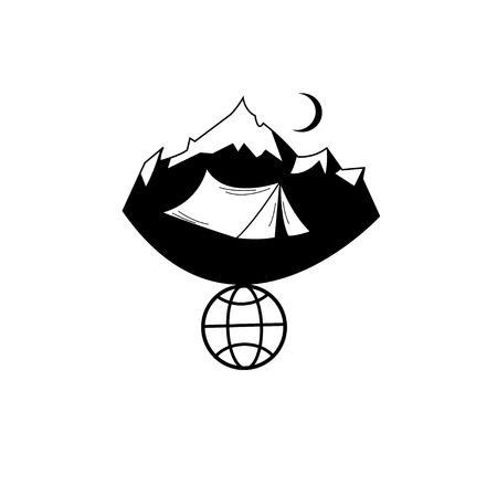 Vector icon tourism tent in the mountains on a white background Illusztráció