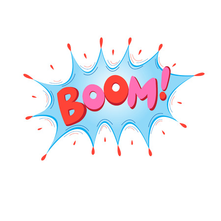 Lettering Boom, bomb. Comic text sound effects. Vector bubble icon speech phrase, cartoon exclusive font label tag expression, sounds illustration Illustration