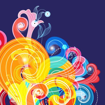 Abstract veelkleurig patroon van verschillende krullen op een blauwe achtergrond