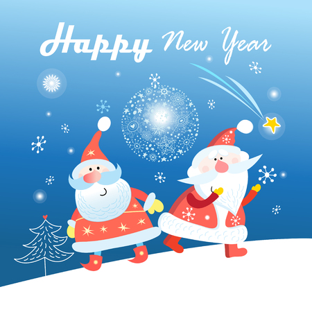 New Year greeting card with Santa Clauses on a blue background with snowflakes