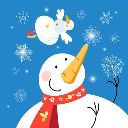 Festive Christmas card with snowmen on a dark background