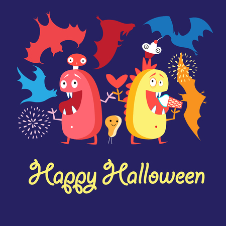 Greeting card vector with monsters and bats on Halloween Иллюстрация