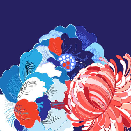 Vibrant vector background with different beautiful flowers large Stock fotó - 81916734