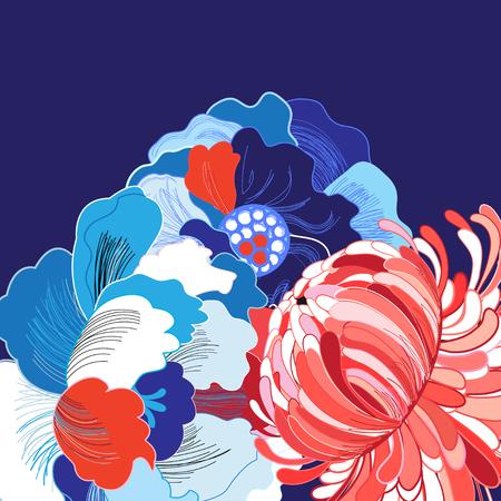 Vibrierender Vektorhintergrund mit den verschiedenen schönen Blumen groß Standard-Bild - 81916734