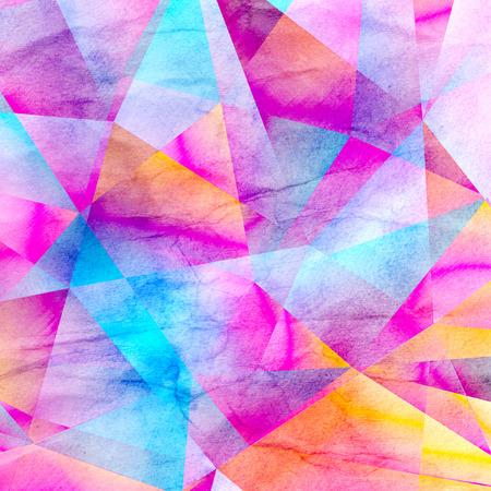 Acquerello sfondo geometrico con poligoni volumetrici colorati Archivio Fotografico - 81993573