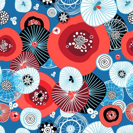 Seamless abstract bright pattern from different round elements and poppies