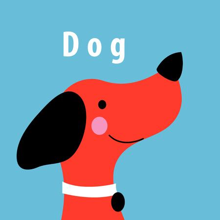 青色の背景に赤い犬の肖像画をベクトル グラフィックス