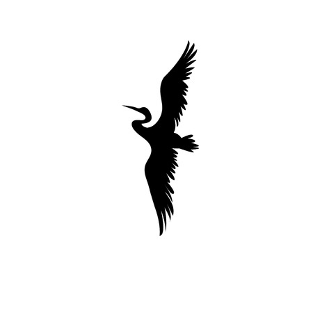 Sign vector silhouette of the heron isolated on white background