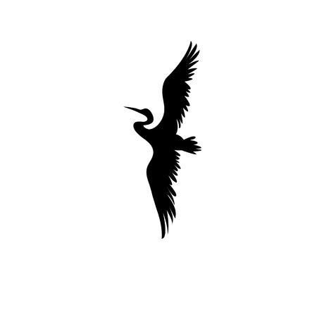 Teken vectordiesilhouet van de reiger op witte achtergrond wordt geïsoleerd Stockfoto - 82149668