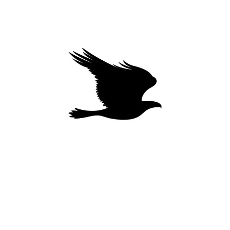 Vector sign eagle silhouette isolated on white background