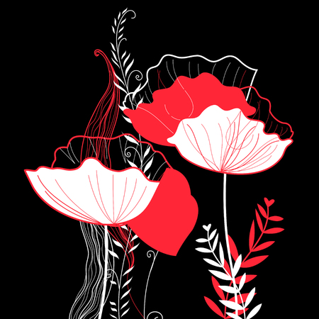 Vibrant vector greeting card with poppies on a dark background