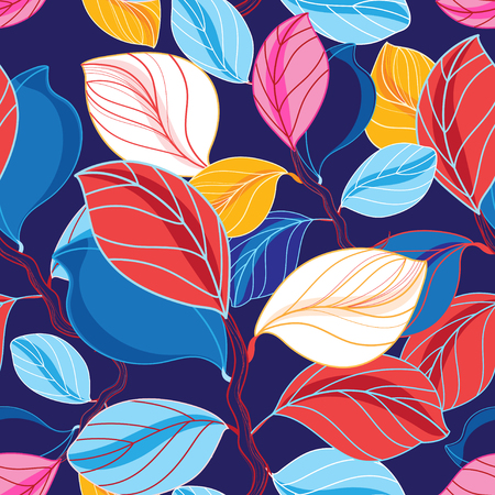 Autumn seamless color pattern from different leaves on a dark background