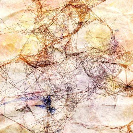 Abstract drawing of a dashed fantastic pattern on a retro background Stock Photo