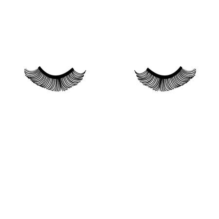 Vector fermé les yeux avec des cils sur un fond blanc