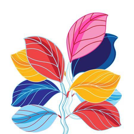 白地に葉の美しい色のベクトル イラスト  イラスト・ベクター素材