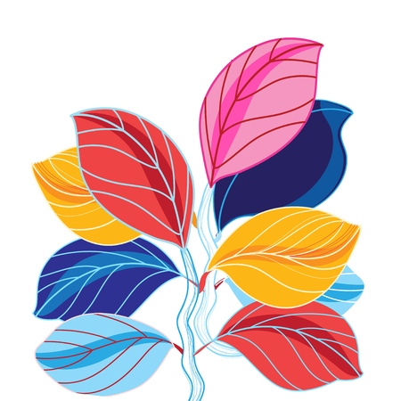 worn out: Vector illustration of a beautiful colored leaves on a white background
