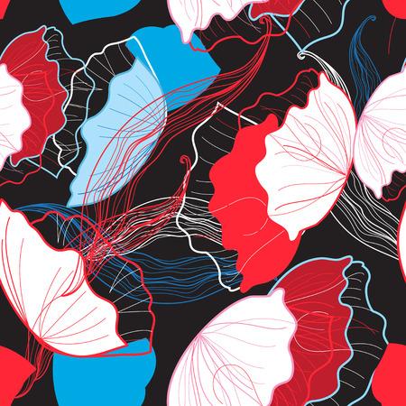 Naadloos helder de zomerpatroon met verschillende bloemenblauw en rood Stock Illustratie