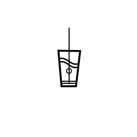 Vector teken van een glas water op een witte achtergrond