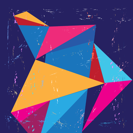 Vector geometric background with triangular colored elements