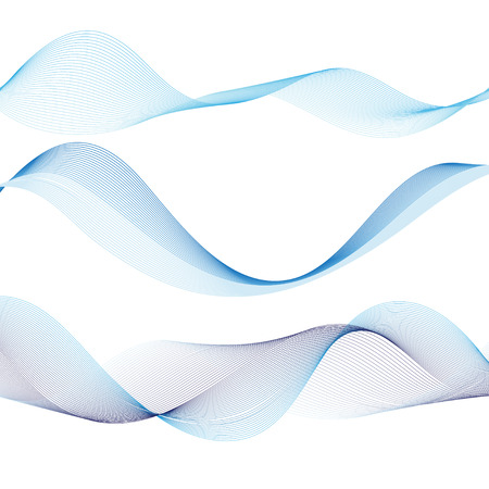 Vector interesting blue waves on white background Ilustração