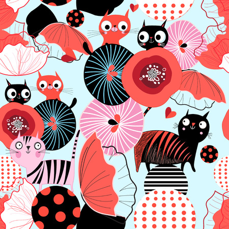 Seamless floral pattern with lovers cats Stock Illustratie